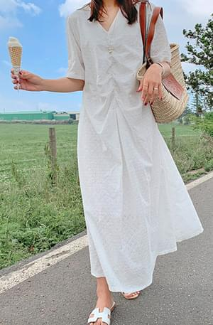 Eyelet Shirring Long Dress
