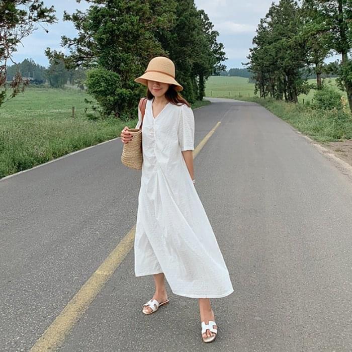 Eyelet Shirring Long Dress