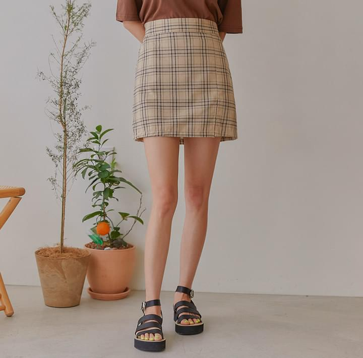 RUCHY CHECK SLIT PANTS SKIRT