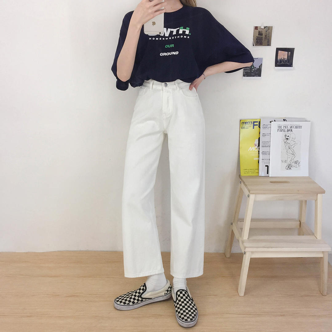 White Wide Cotton Pants