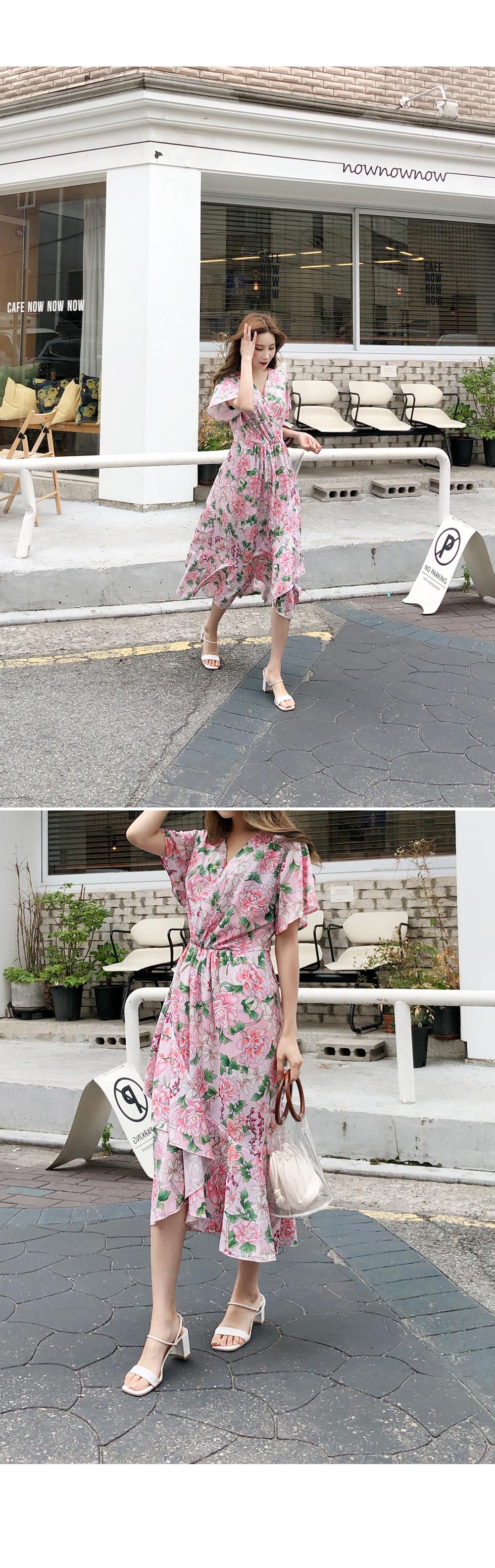 Flower Purple Dress One Piece