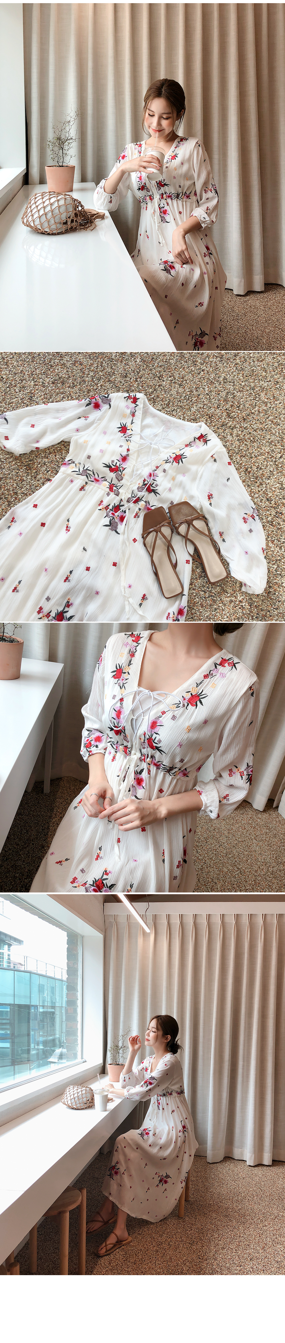 Embroidery full blown dress + top SET