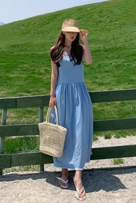 Fresh denim navy long dress