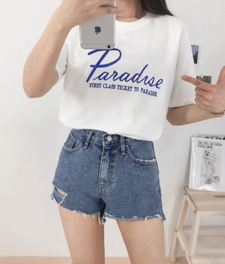 Lettering Paradise Embroidery T-shirt