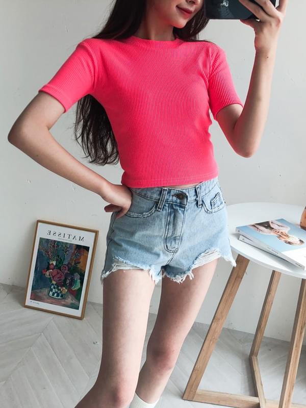 Unbalanced Cutting Denim Shorts