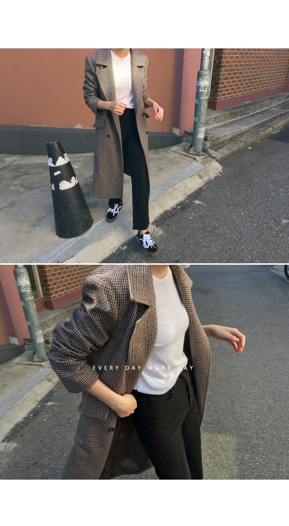 Classic check wool coat
