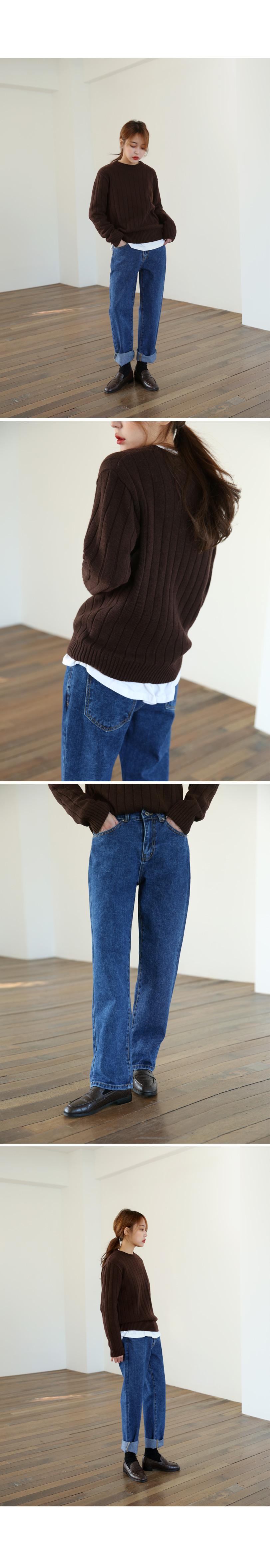 Loose fit deep denim pants