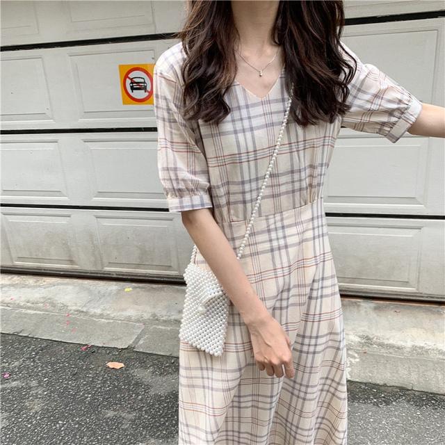 Cheung Soon V neck check dress