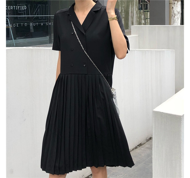 Double Button Pleated Dress