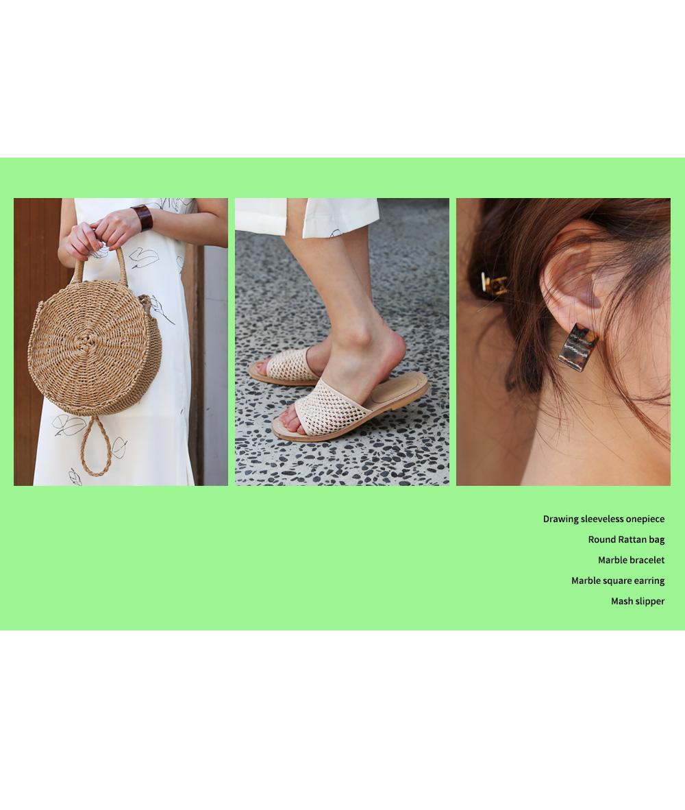 Marble Square Earrings