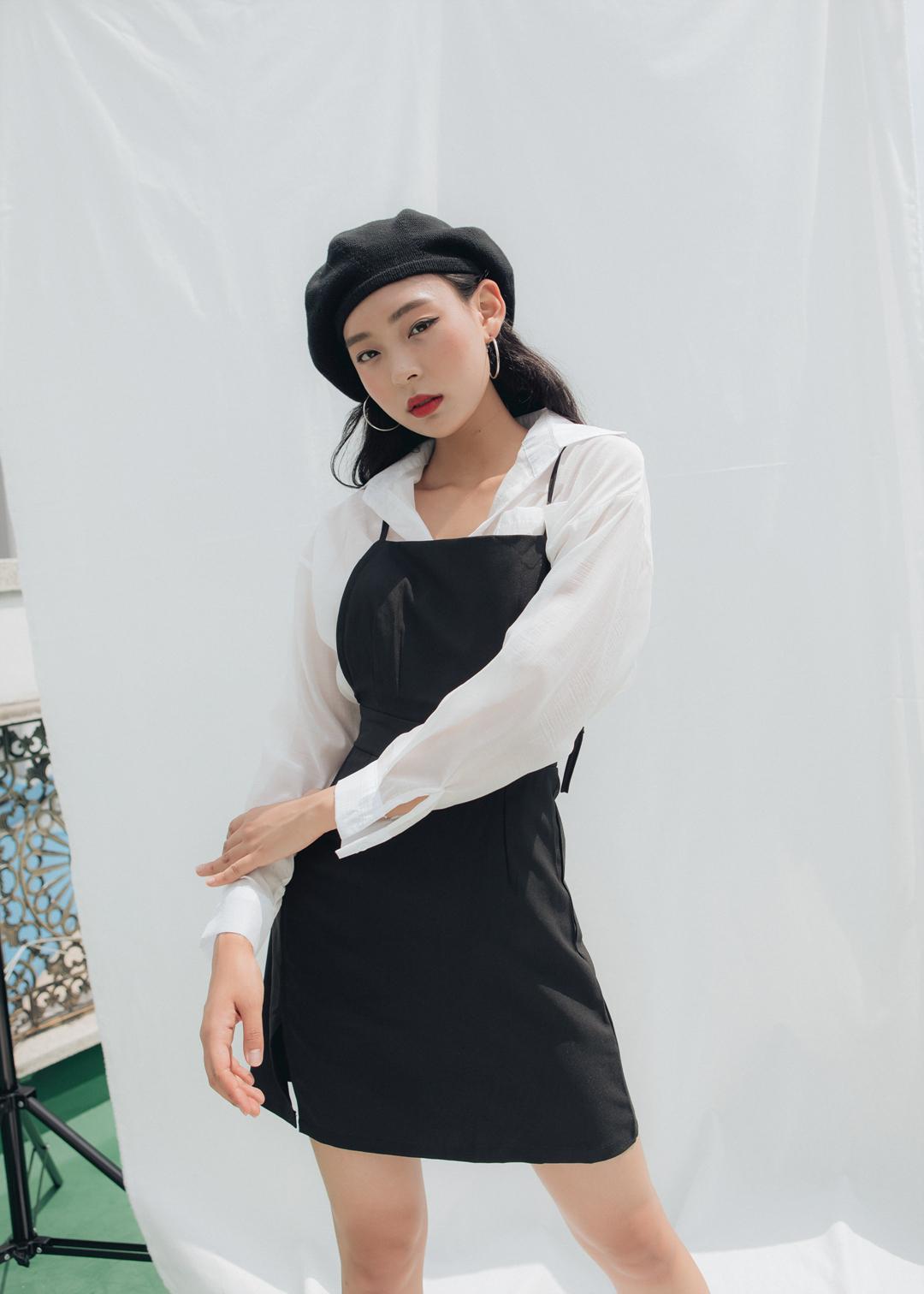 Shirt slit dress set