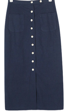 linen button long skrit (s, m)