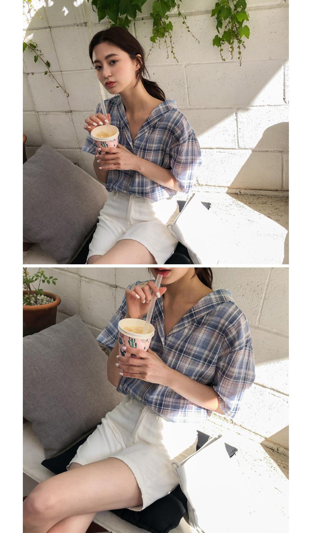 V-neck linen short-sleeved shirt-sh