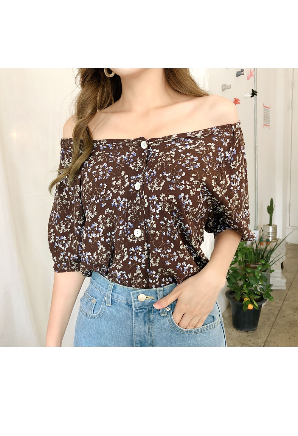 Banded flower blouse