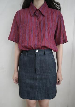 solid denim mini skirt