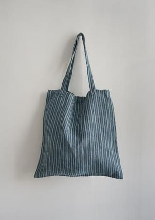 linen stripe blue bag