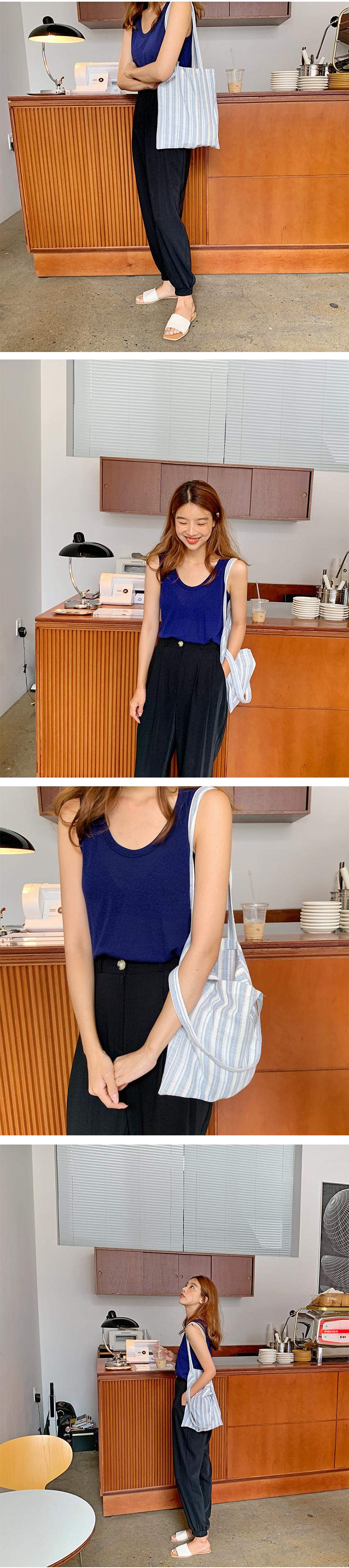 Linen stripe eco bag_B (size : one)