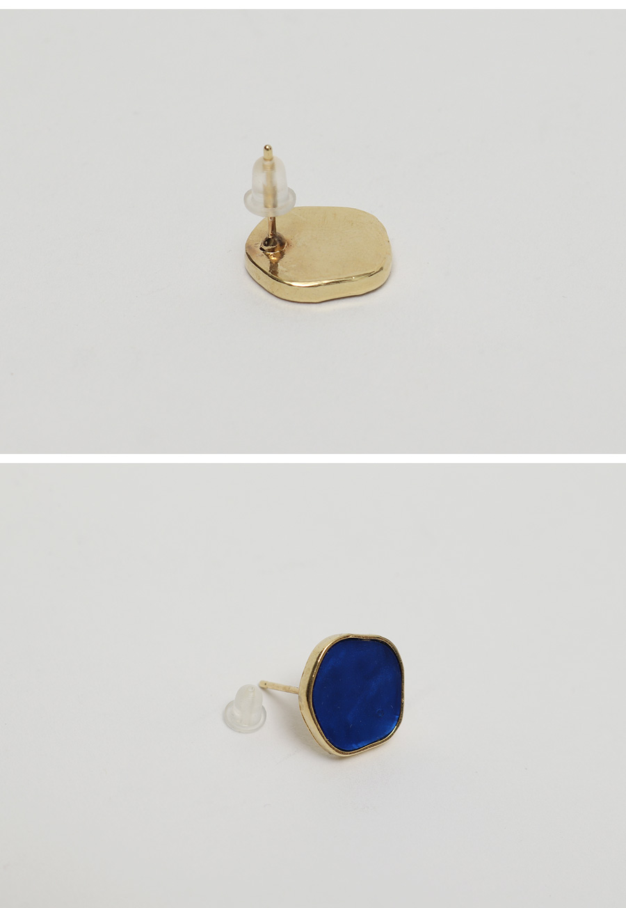 Circle wave paint earring_J