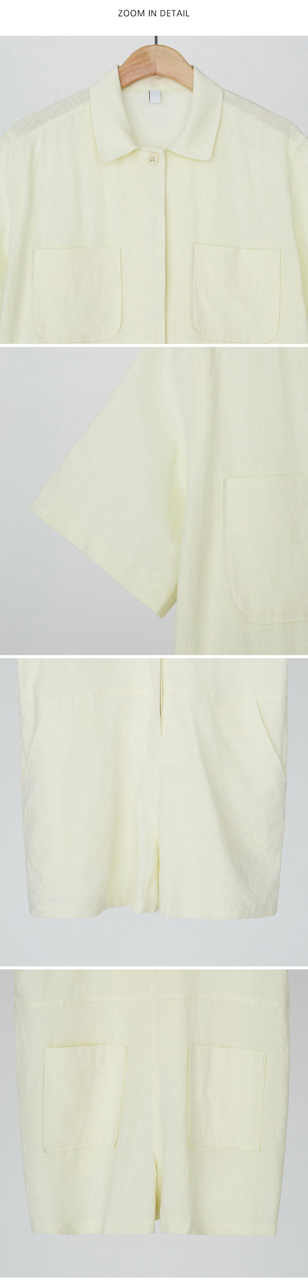 linen collar jump suit
