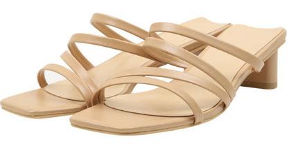thin leather strap mule slipper (2 color)