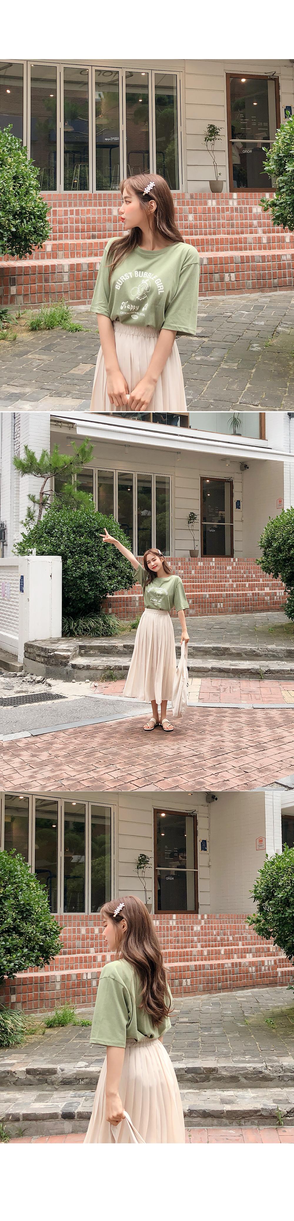 Chiffon Cream Pleat Skirt