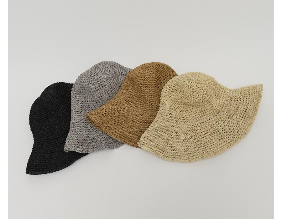 Round straw bucket hat_A