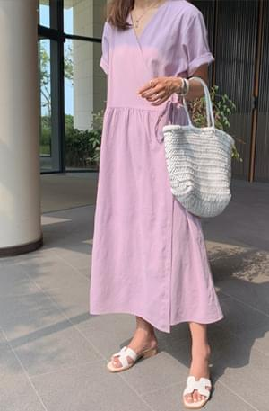 Lavender wrapped linen dress