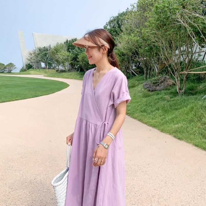 Lavender wrapped linen dress