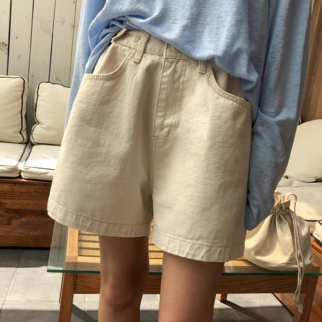 waist button cotton shorts