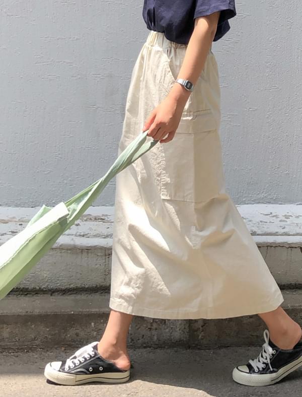 banding cargo long skirt
