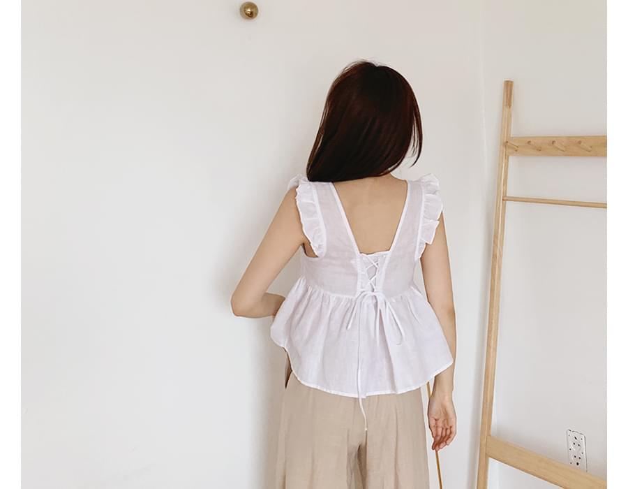 Wing frill strap sleeveless_B (size : free)