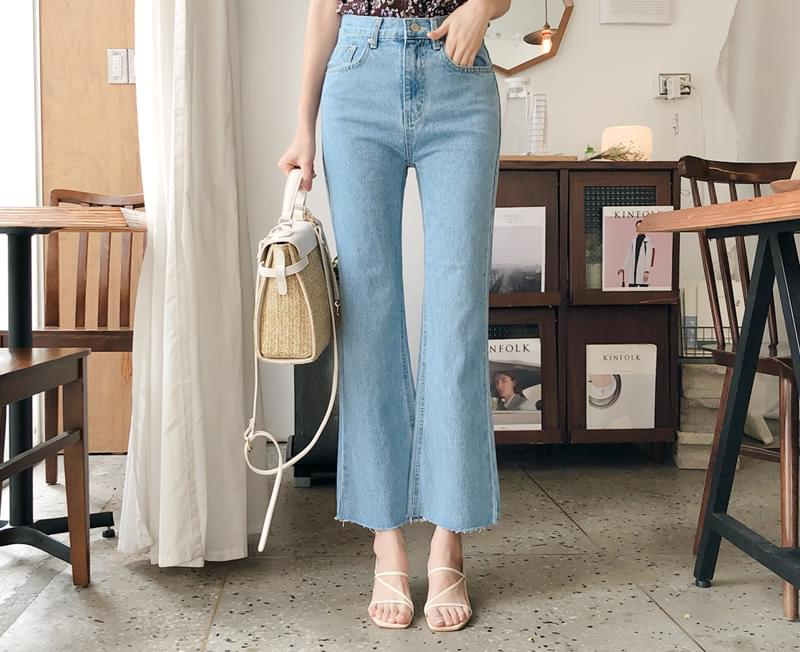 Denim boots cut pants