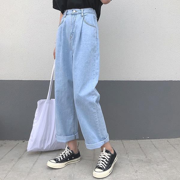 Pin tuck denim wide bending pants