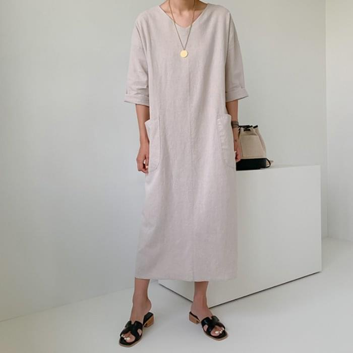 Pocket side slit linen dress