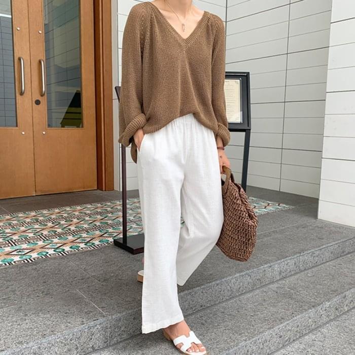 Wide Linen Bending Pants