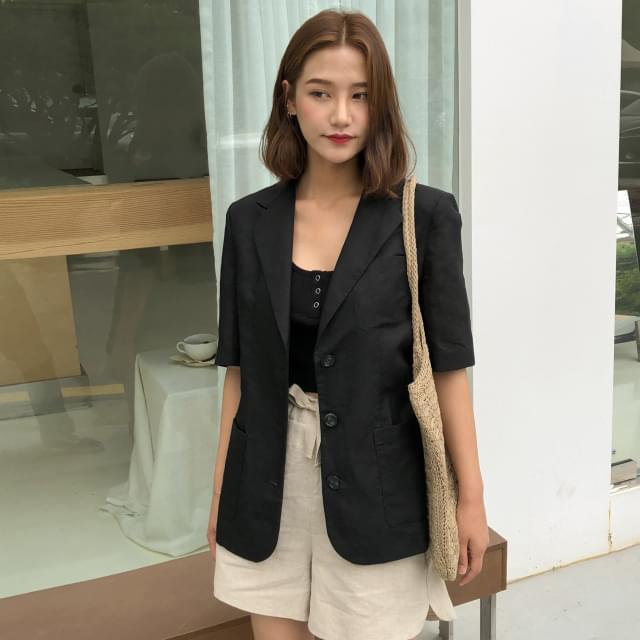 Modern mood linen short-sleeved jacket