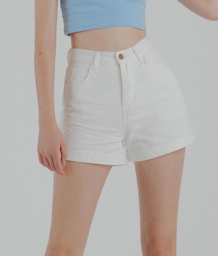 Roll-up basic short pants