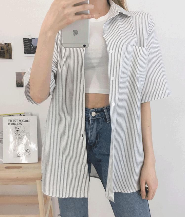 Pocket striped boxshirt