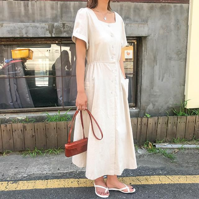 Linen Lausanne Square Long Dress