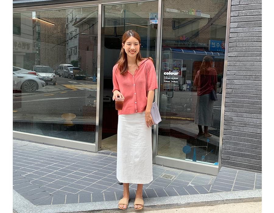 Slit linen long skirt_A (size : S,M)