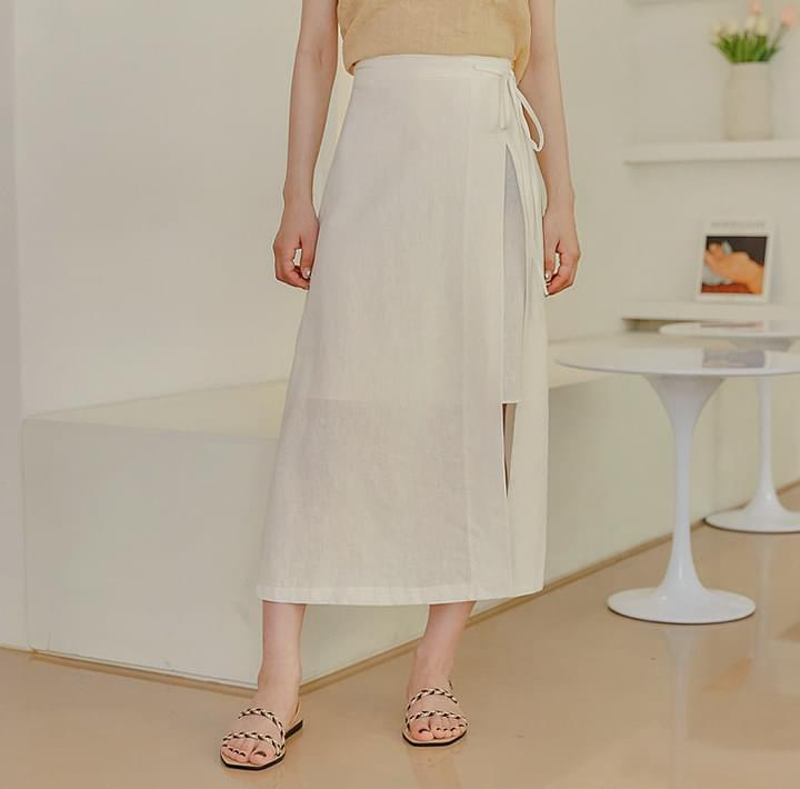 REIVEN LINEN UNBAL WRAP LONG SKIRT