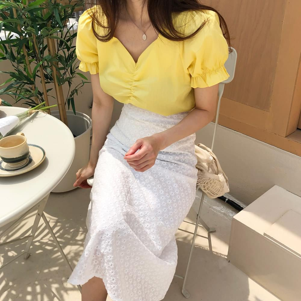Citron shirring blouse