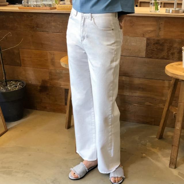 wide fit stitch cotton pants