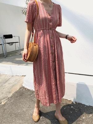 Strawberry Check Long Dress