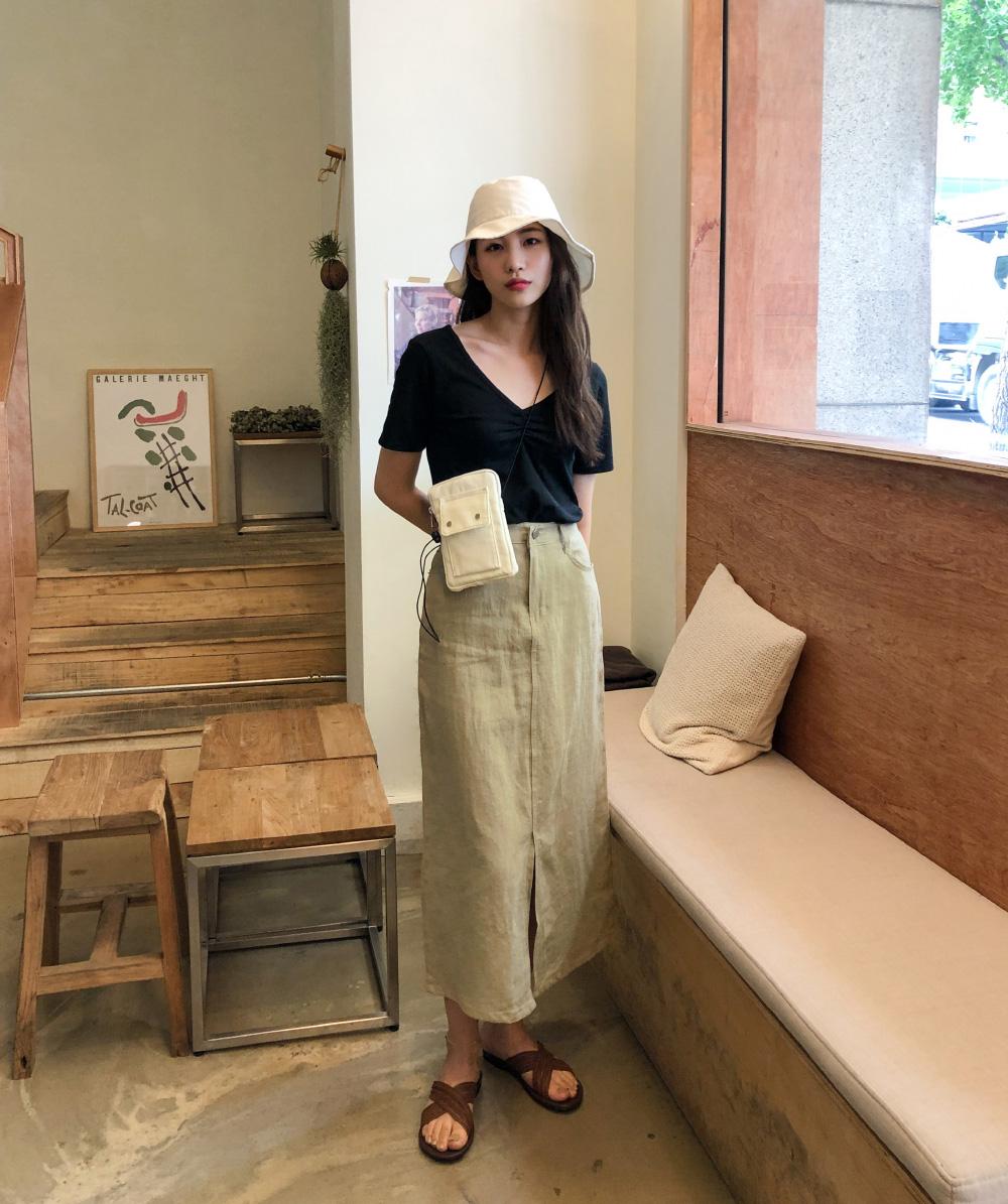 natural linen long skirt
