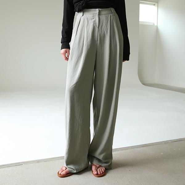 Linen wide pin tuck pants