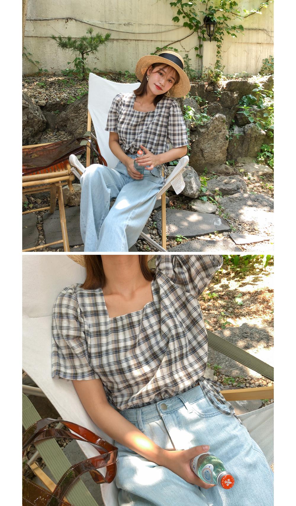 square neck check blouse