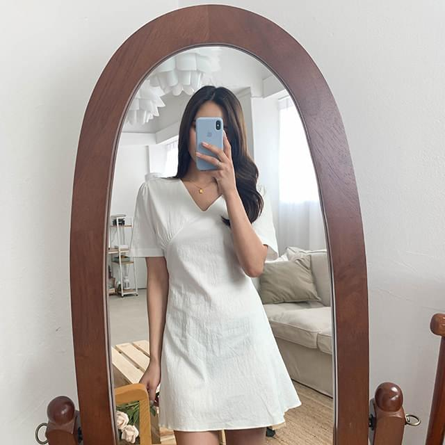 Ribbon combination mini dress ワンピース