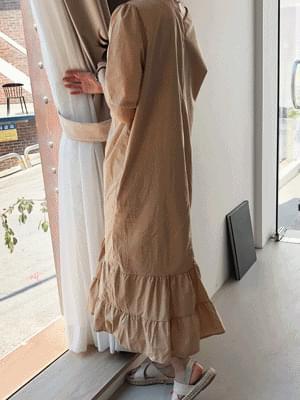 Shirring Flare Long Dress