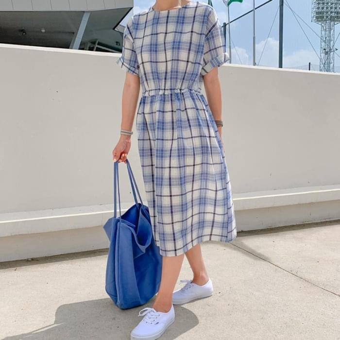 Blue Check Midi Dress